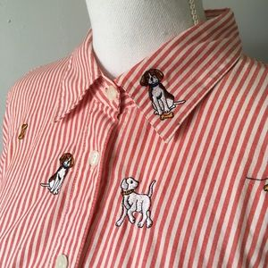Vintage Crazy DOG Lady Button Down Shirt Plus Size